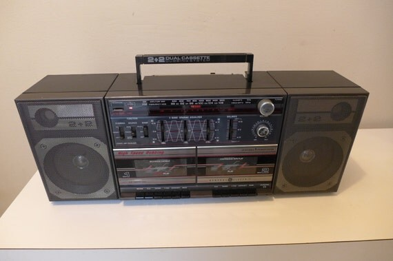 Vintage 80s Ge Boombox Model 3 5672a Detachable Speakers