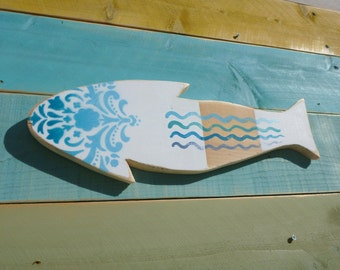 Wooden Folk Art  Fish Made from Repurposed Hawaiian Cottages Ombre Blues