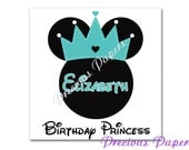 Personalized princess Minnie Mouse iron transfer image Teal Minnie mouse clipart minnie mouse birthday t-shirt transfer