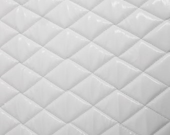 White Faux leather Quilted Vinyl fabric with 3/8  Foam Backing ... : quilted vinyl - Adamdwight.com