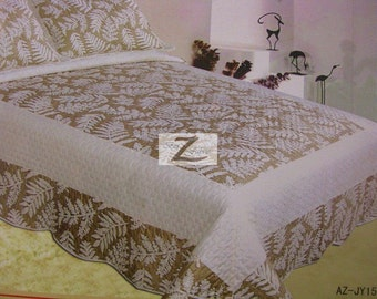 3-Piece Comforter Set King/Queen - White/Taupe - 100% Cotton New