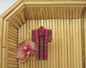 """Tiny Ornament. """"Red Pine."""" Fabric Origami Kimono: Handmade. Golden Pine Needles. Hang it, Frame it, Give it."""