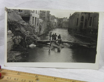 """WWI  Where """"A"""" Company 316th Engineers Built Pontoon Bridge Over Scheldt - Soldier's Personal Photograph Postcard"""