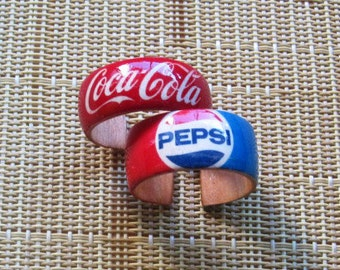 Coke or Pepsi -- wood finger rings