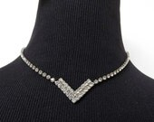 Art Deco Style Double Chevron Rhinestone Necklace - High Reflection and Sparkle