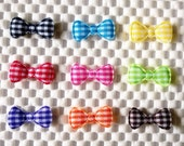"60 pcs - Padded gingham Bow Appliques - size 10 x 22 mm (7/8"") - Mix colors"
