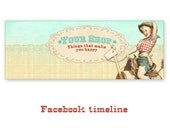 Personalized  Western Pinup Cowgirl Facebook Timeline Banner Cover with Vintage Pinup Cowgirl Digital Download - WESTERN TIMELINE