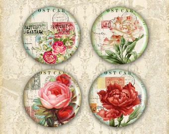 Vintage Flower Printable 1 inch Circles on Digital Collage Sheet best for bottle caps, jewelry making, paper craft - DIRTY VINTAGE FLOWERS