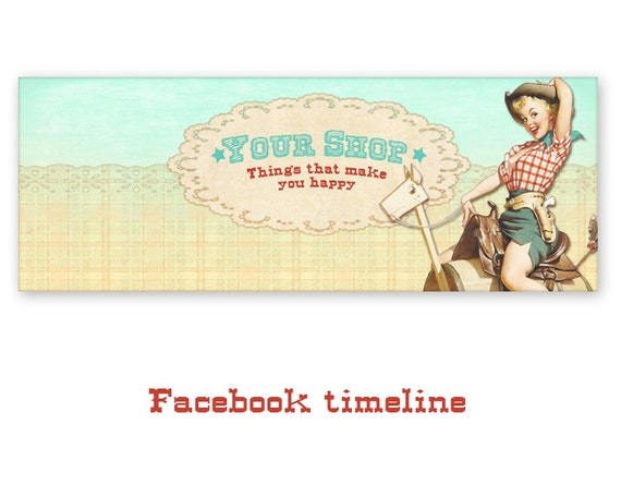 Personalized western pinup cowgirl facebook timeline banner like this item sciox Gallery