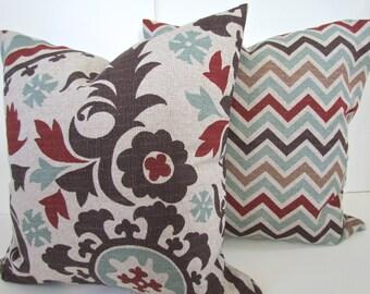 "Sale. BROWN PILLOWS SET of 2. Tan Throw Pillow Covers 14x14"" Green Copper Decorative Pillow Covers Ikat Throw pillows Home Decor"