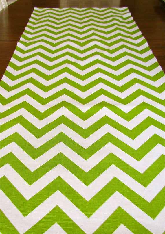 Christmas CHEVRON TABLE RUNNER Wedding Shower 12x60 13x72 Green Table runners Party Chevron Table cloth Chartreuse Holidays Baby Showers