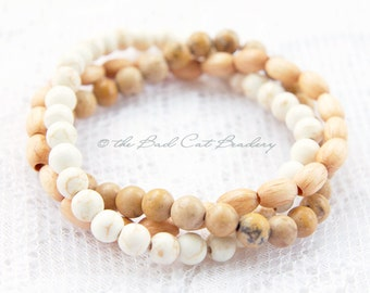 White, Tan, Sand Neutrals Naturals Bead Stretch Stack Bracelet