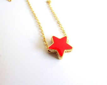 Red Star Necklace, Dainty Gold Necklace, Passion Red Jewelry, Gold Enamel Star Necklace, Dainty Star Necklace, Tiny Star Jewelry,Layer Jewel