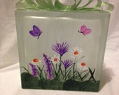 Glass Block Lighted Hand Painted Spring Flowers