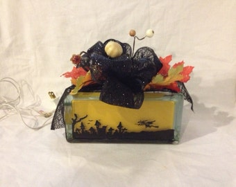 Halloween Lighted Hand Painted Glass Block