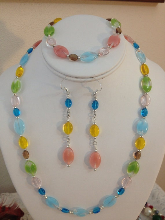 colorful beaded necklace bracelet and earring set by