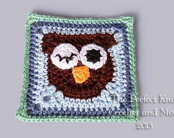 PDF Crochet Pattern File - What a Hoot 6 Inch Owl Square