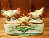 Reserved Nodding Rooster And Chicken Salt & Pepper Porcelain Set Occupied Japan Patent Original Design 1940's