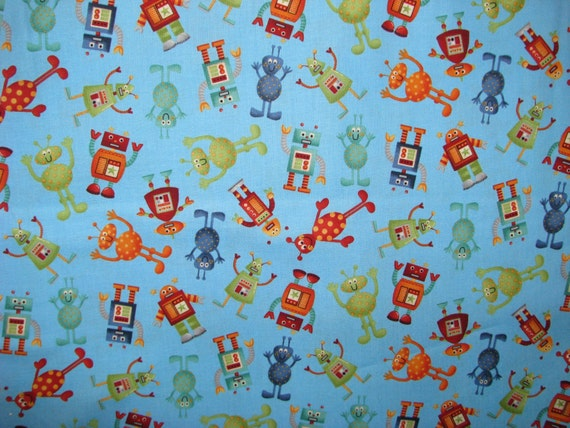 Items similar to space toss fabric blue with alien and for Alien fabric