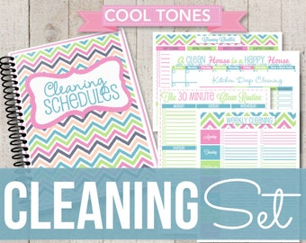 Introductory Rate INSTANT DOWNLOAD-Cleaning Printable Set-Bright Chevron Home Binder Cleaning Schedules-11 documents