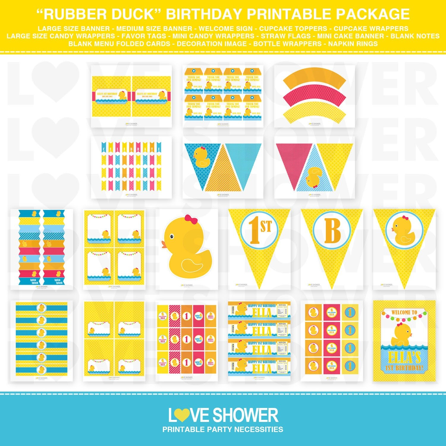 Rubber Duck Birthday Invitation 5x7 4x6 Printable By