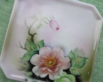 Hand Painted Pink Noritake Tea Tile