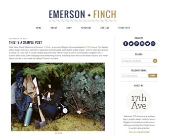 "Blogger Template Premade Blog Theme Design ""Emerson + Finch"""