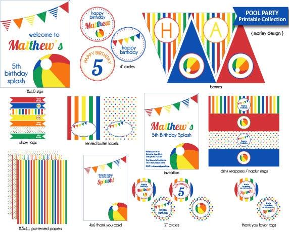 Pool Party Printable Decorations Boys Birthday Splish Splash