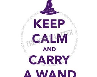 Keep Calm and Carry a Wand Halloween Vinyl Wall Decal Decor