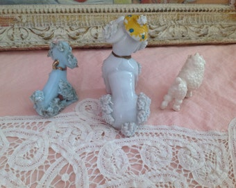 50s Set Of Three French Poodle Statues Figurines Porcelain
