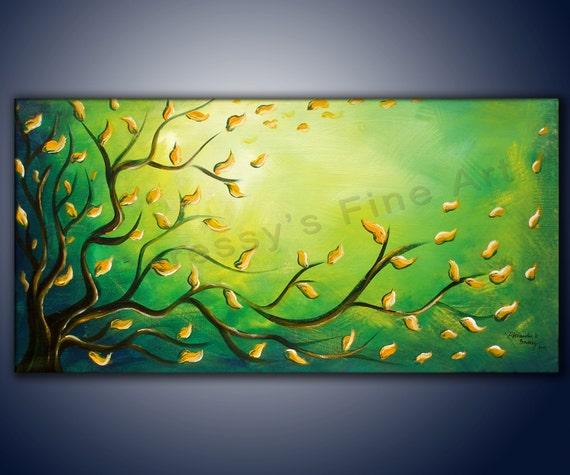"18""x36"" Original Abstract Painting by Alexandra H. Beressy "" Green Light """