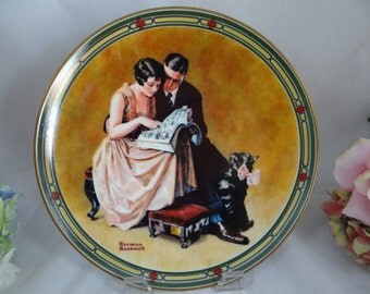 """1985 Edwin Knowles Norman Rockwell """"A Couple's Commitment"""" Collector Plate Limited Edition"""