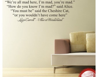 Alice in wonderland cheshire cat quote vinyl wall decal sticker