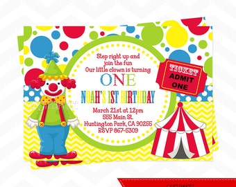 Clown Birthday Party Invitation