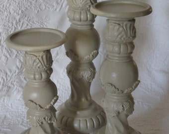 Shabby Candle Holders - Set of three Assorted sizes - Cottage Chic Sage-Beige
