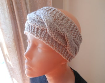 Knit Headband  Ear Warmer Head Warmer Beige