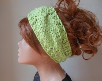 Knit Headband  Ear Warmer Head Warmer Light Green