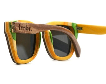 Brown Wood Sunglasses, 7-Ply Wooden Eyewear, Recycled Skateboard Wood Sunglasses - LKBR