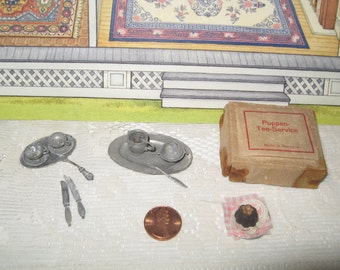 German Puppen Tee Service Tea Set Vintage Metal in Box Doll Germany