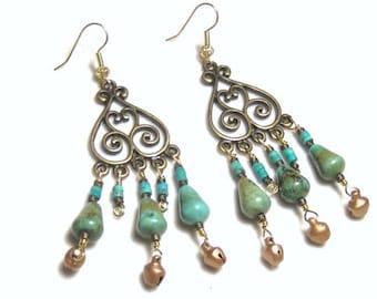 Turquoise Gypsy Chandelier Beaded Earrings Bohemian Jewelry