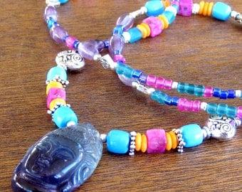 Kwan Yin Goddess Beaded Necklace Bohemian Tribal Jewelry