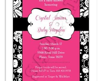 Printable Pink Damask Baby Shower Invitation