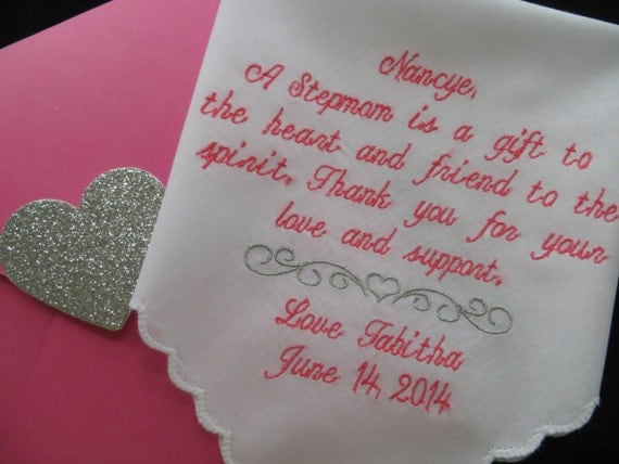 Weddings-SECOND MOM of The Bride Gift Handkerchief-A Stepmom Is A Gift ...