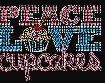 Peace, Love & Cupcakes Rhinestone Transfer