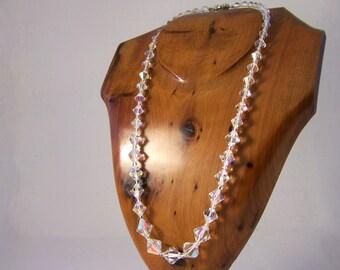 Vintage Crystal Necklace, Aurora Borealis Necklace