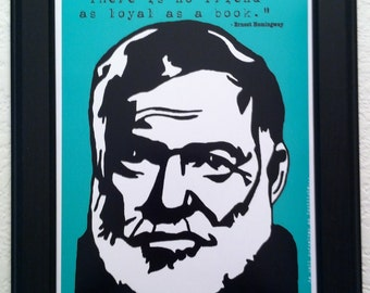 Ernest Hemingway with Quote Art Print