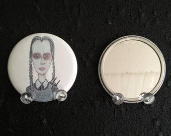 Wednesday Addams original art pocket mirror