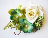 Large Turquoise wedding accessories,  Floral hair accessory, Ivory rose hair clip, Large turquoise hair clip, Turquoise Ivory Wedding,
