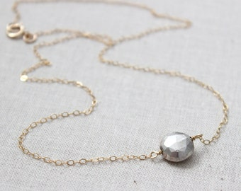 Silver Pyrite Coin Charm 14K Gold Filled Necklace, Silver Pyrite Gold Necklace, Two Tone Necklace, Mixed Metal Necklace, Minimalist Jewelry