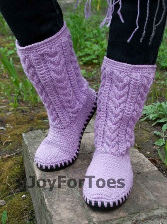 Crochet Boots Knitted Shoes Outdoor Boots Boho Ugg Handmade shoes Fall ...